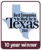 Best Companies to work for in Texas, 10 year winner
